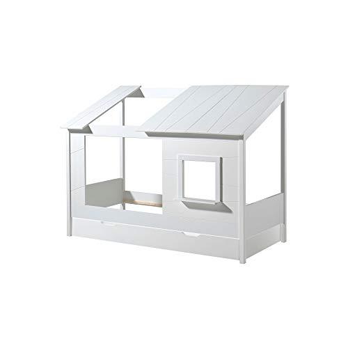 Jugendmöbel24.de Hausbett Haven 90 * 200 cm inkl. Dachüberbau in Baumhausoptik aus hochwertigem MDF Werkstoff Einzelbett Bett Kinderbett Baumhausbett
