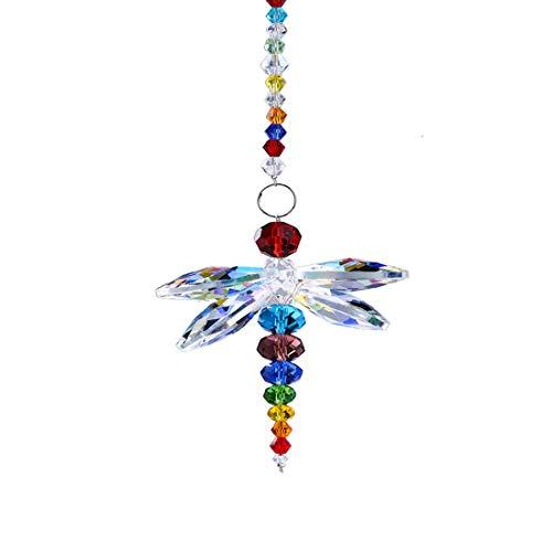 Kücheks Candelabro con Colgante de libélula Animal, prismas de Bola de Cristal, Cuentas de arcoíris, Chakra, atrapasueños, decoración de Ventanas para el hogar, nuevos...