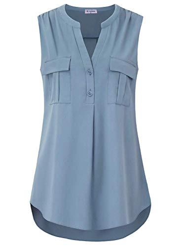Bulotus Women Chiffon Office Tank Top Sleeveless Blouses for Work, Blue, X-Large
