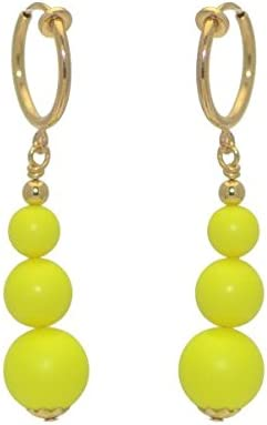 NEON YELLOW CERCEAU Gold Plated Clip On Earrings
