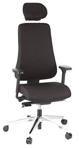 hjh OFFICE 608400 Profi Bürostuhl PRO-TEC 400 Stoff Schwarz Drehstuhl ergonomisch, bis 150kg belastbar, hohe Rückenlehne