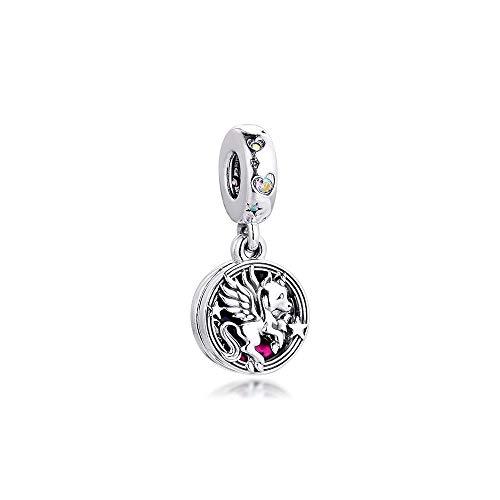 LIJIAN DIY 925 Sterling Jewelry Charm Beads Magical Unicorn Double Dangle Hacer Originales Pandora Collares Pulseras Y Tobilleras Regalos para Mujeres