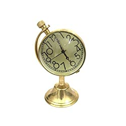 VETERIS Brass Table Clock with Globe Stand Vintage Table Clock