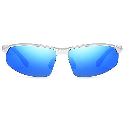WHSS Gafas de sol Ciclismo Deportes Aluminio-magnesio Polarizadas Gafas de sol Azul/Plateado Gafas de sol de conducción para hombre (Color: