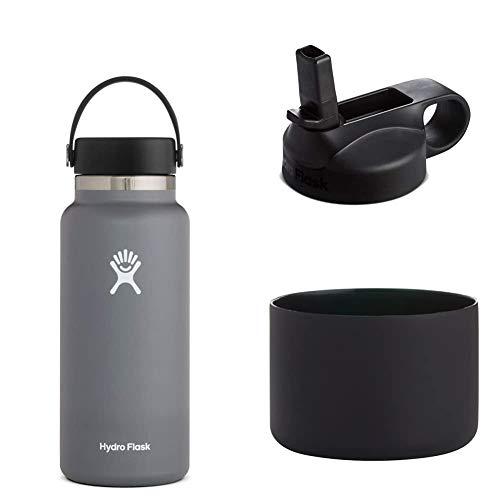 Hydro Flask Trinkflasche, Edelstahl und vakuumisoliert, große Öffnung mit auslaufsicherer Flex Cap, Stone, 946ml + Silikon-Flex Boot, schwarz, Mittel+ Trinkhalmdeckel mit großer Öffnung, schwarz