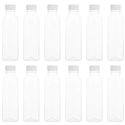 PIXNOR 30 Unidades de Botellas de Jugo de Plástico Redondo Recipientes de Leche Transparente con Tapa de Seguridad de Botellas de Bebida de 250M Botella de Agua Deportiva para La Oficina