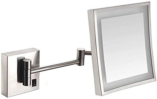 HUAQINEI Espejo de Maquillaje Espejo de Maquillaje Espejo con luz LED Espejo de baño para tocador de Hotel Cuadrado Extensible Ajustable Afeitado de 8 Pulgadas en el Dormitorio o el baño