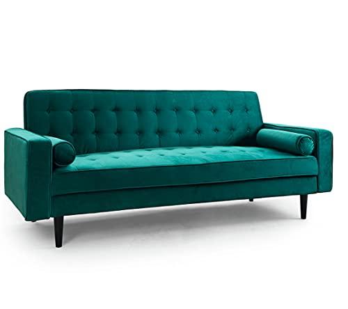 SWEET SOFA- Sofá Cama Vintage Green, 3 plazas Convertible en Cama Doble, Sistema Apertura Clic Clac, Tapizado Aterciopelado Verde