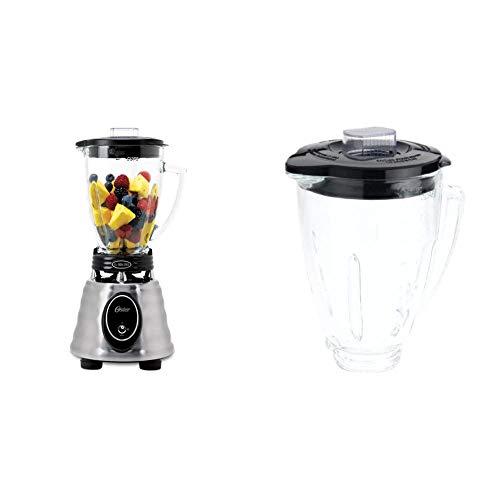 Oster BPCT02-BA0-000 6-Cup Glass Jar 2-Speed Toggle Beehive Blender, Brushed Stainless & BLSTAJ-CB Blender 6-Cup Glass Jar - Black Lid