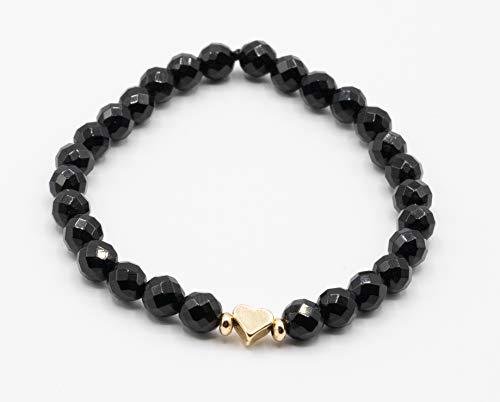 Kristallarmband mit 24K gold überzogenes Herz mit Zwischenperlen, glanz schwarz, Perlenarmband, Paararmband, Onyx Naturstein, Perlenkette, Damen, Herren, Kinder