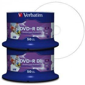 Verbatim DVD Double Couche DVD+R DL 8.5 Go / 240 min 8x, Full printable White No ID, 100 pièces en cloche