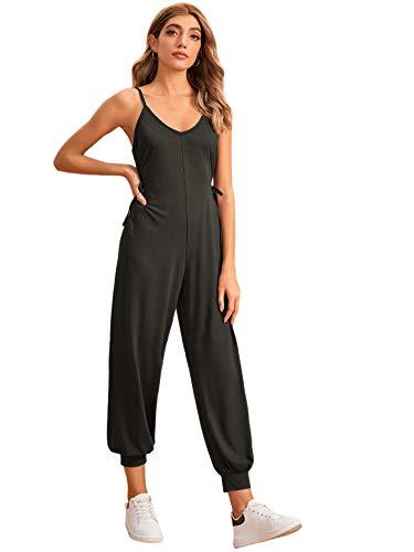 SheIn Damen-Jumpsuit mit V-Ausschnitt, ärmellos - Grau - X-Groß