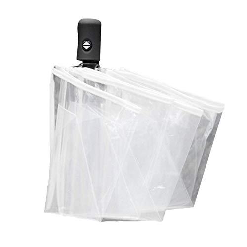 Mdsfe Kompakter vollautomatischer Regenschirm DREI klappbare klare Winddichte Regenschirme Frauen Männer 8 Rippen Regenfester transparenter Regenschirm- Weiß, a7