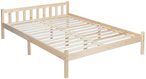 Estructura de cama de madera de pino natural estructura de cama doble (no incluye colchón),Pine bed