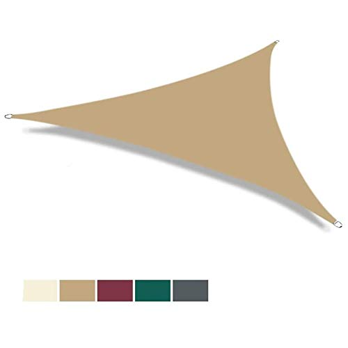 Toldo de vela MYAN 160 g/m² PES poliéster impermeable al aire libre jardín patio fiesta toldo toldo parasol toldo bloqueo UV toldo vela 5 colores y 3 tamaños, arena, 5x5x5m