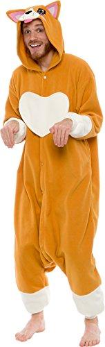 Silver Lilly Unisex Adult Pajamas - Plush One Piece Cosplay Corgi Animal Costume (M) Brown