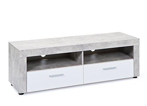 Inter Link 19603225 TV-Möbel, melaminharzbeschichtete Flachpressplatte, hochglanz weiß beton, 134 x 42 x 43 cm