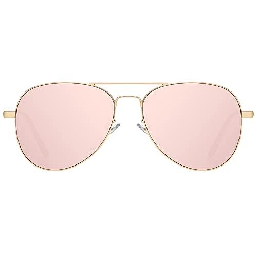 H HELMUT JUST Gafas de Sol Aviador para Hombre Mujer Piloto Rosa Espejo para Viajes UV400 HJ1304