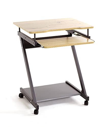 Haku-Möbel Mesa para Ordenador con Ruedas, Metal, Roble Antracita, T 49 x B 60 x H 76 cm