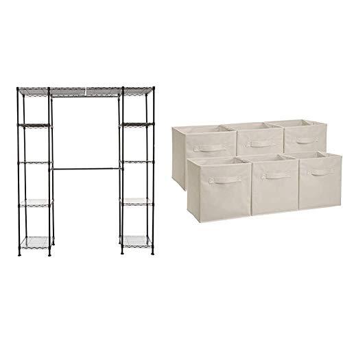 "AmazonBasics Expandable Metal Hanging Storage Organizer Rack Wardrobe with Shelves, 14""-63"" x 58""-72"", Bronze & Collapsible Fabric Storage Cubes Organizer with Handles, Beige - Pack of 6"