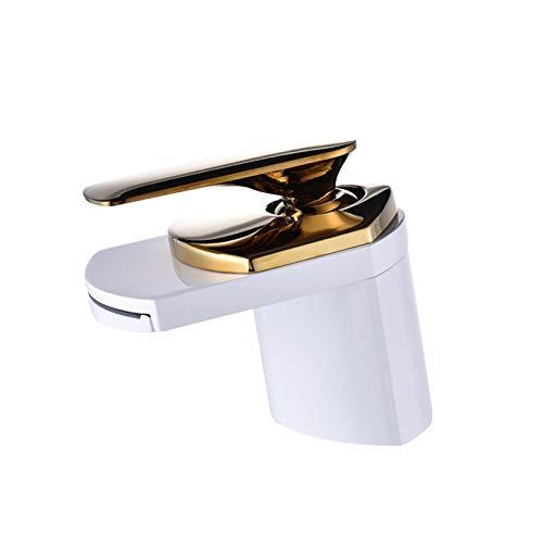 Pintado En Blanco Dorado Estilo De Moderno Cocina Mezclador Grifo De Baño Mezclador Monomando Lavabo Con Aleación De Zinc Y Válvula De Cerámica