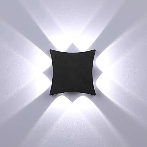 ENCOFT 8W Applique Esterno Interno COB LED Moderno, Lampada da Parete Muro Esterno IP65 Impermeabile, in Alluminio, Luce Bianco Freddo 6000K, Lampada Parete per Giardino Balcone, Nero