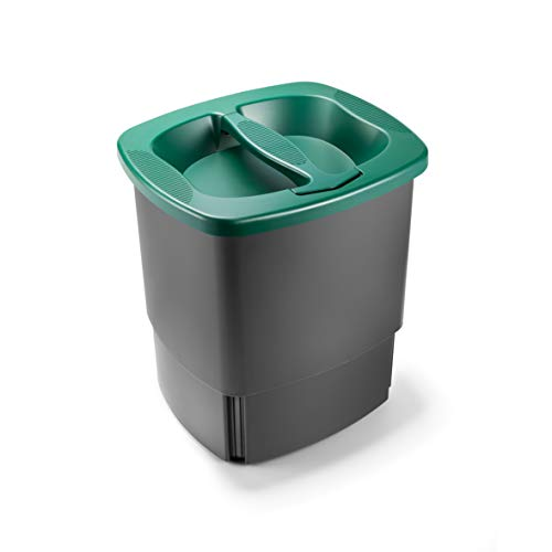 Komprimo. Cestino Bidone Compattatore. Riduce Volume dei rifiuti Fino al 70%. Verde. Pattumiera Cucina