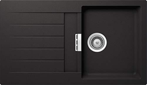 SCHOCK Küchenspüle 86 x 50 cm Primus D-100 Nero - CRISTALITE schwarze Granitspüle ab 45 cm Unterschrank-Breite