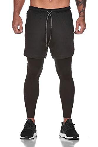 Yidarton Shorts Herren Sport Sommer 2 in 1 Kurze Hosen Schnelltrocknende Laufshorts Fitness Joggen und Training Sporthose mit Tasch (471-Schwarz, Medium)