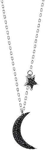 LDKAIMLLN Co.,ltd Collar Mujer Hombre Colgante Estrella de Plata Luna Negra Mujer Amor Chic Personalidad Simple y Generoso