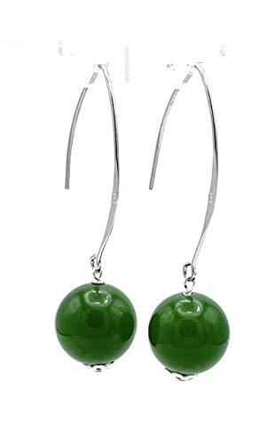 Pendientes de jade verde, plata 925, pendientes largos colgantes, joyas de piedras naturales, piedra de nacimiento de agosto