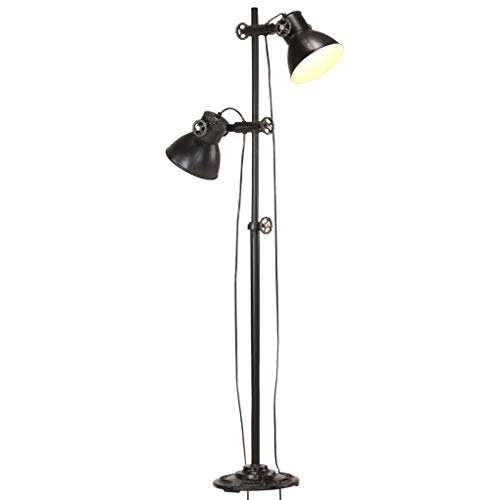 vidaXL Stehlampe 2-flammig Stehleuchte Standleuchte Stand Lampe Leselampe Leuchte Wohnzimmer Schlafzimmer Beleuchtung Schwarz E27 Gusseisen