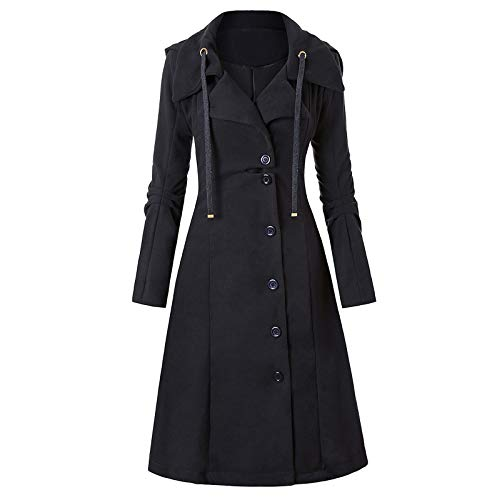 Shirt Luv Women Warm Slim Overcoat Long Outwear Double-Breasted Jacket with Belts Women's Coat Black XL Winter Fall Clothes 2020 Plus Size