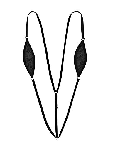 Agoky Damen Einteiler Badeanzug Bikini mit Spaghettiträger Transparent Dessous Micro Monokini String Badebekleidung Schwarz A One Size