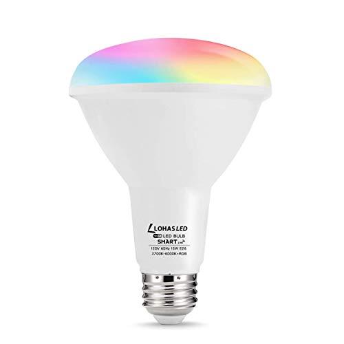 LOHAS Smart Light Bulb BR40 WiFi LED Bulb, E26 RGB Color Changing Lights, 1450LM 100W Equivalent WiFi Bulb Work with Alexa, Google Assistant, Daylight 2700K-6000K BulbsforHomeLighting(15W), 1 Pack
