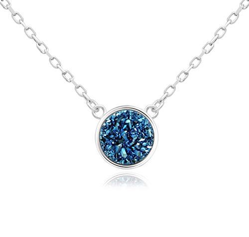 KristLand - 925 Silver Necklace Simple Style Natural Druzy Round Rainbow Stone Pendant...