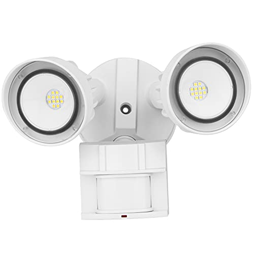 bulbeats LED Security Light Motion Sensor Outdoor Flood Lights 20W 5000K 2000Lm 2 Adjustable LED Heads IP65 Waterproof Motion Detected Security Light for Commercial & Household/ Entryways /Garage