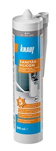 Knauf Sanitär-Silicon für den Einsatz in Sanitär-Bereichen, Bad, Dusche – dauerelastischer Silikon-Dichtstoff, schnell vernetzende Anti-Schimmel Fugen-Masse, wasserfest, 300-ml, Grau