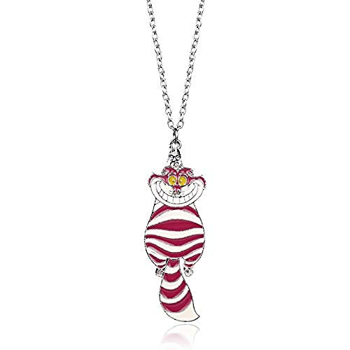 POIUIUYH Co.,ltd Necklace Film Alice in Wonderland Pendant Cheshire Cat Rose Cute Enamel Metal Chain Necklace Charm Jewelry for Women Girls Gifts