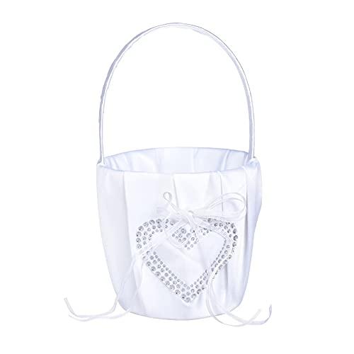 Anillo de boda de almohada de boda, suministros de fiesta de novia, anillo de novia, caja de almohada de plumas, bolígrafo con diamantes de imitación de corazón (color: cesta de flores)