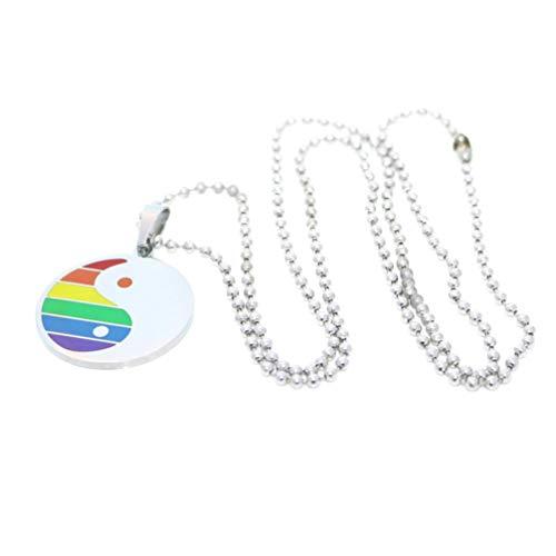 Happyyami Collares LGBT Yin Yang Bagua Colgante de Acero Inoxidable Collar del Orgullo Gay Lesbiana Arco Iris Collares Colgantes Adornos de Regalo de Recuerdo