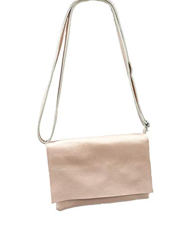  echt Leder Handtasche   kleine Umhängetasche mit Umschlag Klappe   verstellbarer Trageriemen   auch Cross-Over zu tragen   mit Innentasche rose