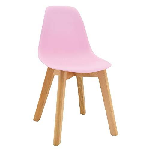 Chaise enfant scandinave rose pieds en bois
