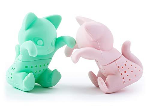 Herr und Frau Tee-Ei – Loose Leaf Kräutertee Sieb für eine Tasse oder Cup – Mint und Rosa Cute Tee Filter Silikon in einem Set von zwei, pink, mint