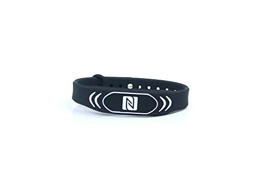 NFC Armband, geeignet für Kontaktdaten, Messe, Sport, 924 Byte (NTAG 216), wasserfest, schwarz, verstellbar