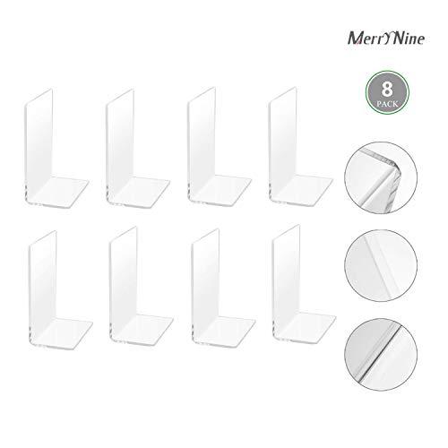 MerryNine Plastic Acrylic Bookends Pair Organizer Bookshelf Decor Decorative Bedroom Library Office School Supplies Stationery Gift (Plastic Acrylic_4 Pairs)