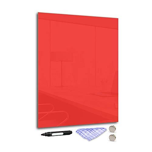 DekoGlas Magnettafel 'Rot' aus Glas 50x70cm, Memoboard inkl. Stift, Tuch & Magnet, Metall-Pinnwand für Küche & Büro