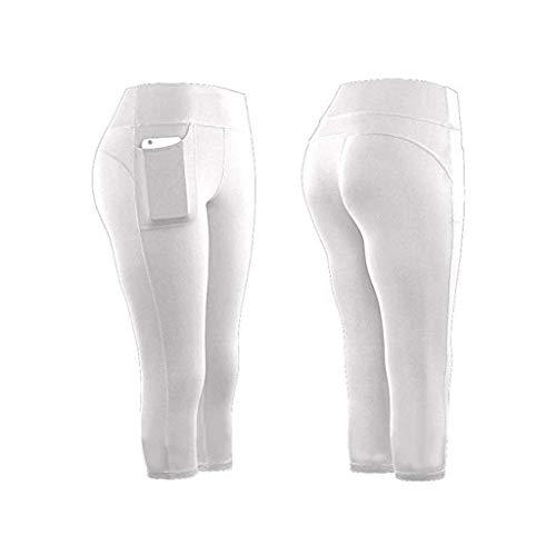 KEERADS Damen Leggings 3/4 con bolsillos dobles, pantalones de yoga, pantalones de deporte, mallas de entrenamiento, con funda para el teléfono móvil Blanco L