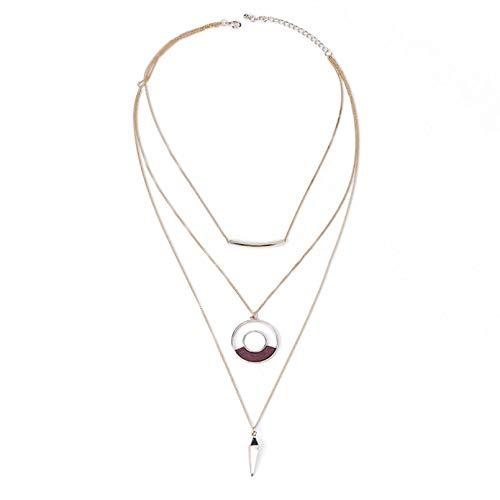 N/A Collar de Cadena Multicapa círculo de aleación Bohemia joyería declaración Collar Babero para Mujer Collares con Colgante de Piedra Natural