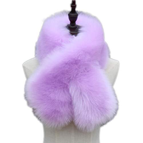 Tngan Winter Warm Scarf Women Faux Fur Neck Warm Soft Fluffy Thick Collar Lavender